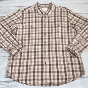 Filson Flannel Shirt Brown Tan Plaid XXXL 3X Long